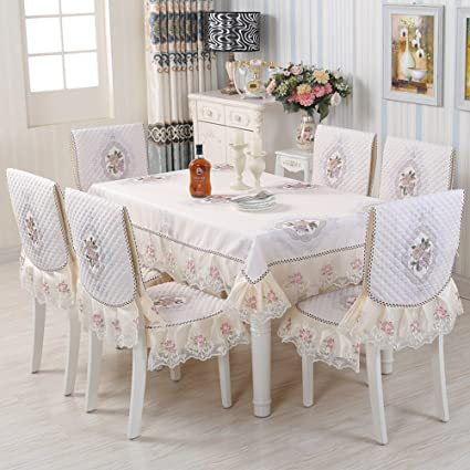 9bcfd2ce0f8 Amazon.com  WAN SAN QIAN- European-Style Table-Cloth Chair Covers ...