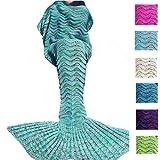 Fu Store Handmade Mermaid Tail Blanket For Adult, Super Soft All Seasons Sofa Sleeping Blanket, Cool Birthday Wedding Christmas Gift, 71 x 35 Inches, Mint Green