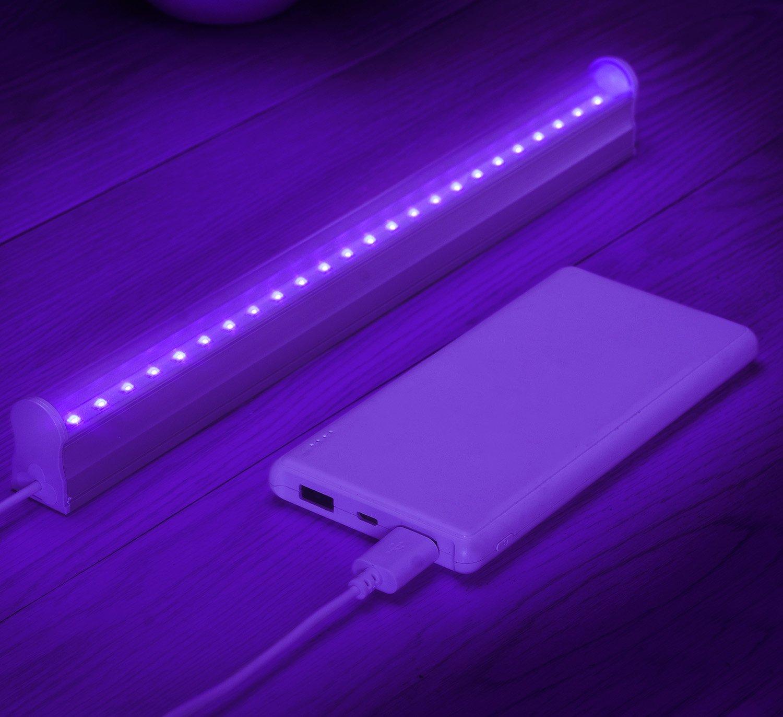 UV LED Black Light Fixtures,Aplstar 6W Portable Blacklight Lamp for Stain Clean,Neon Paint Art,UV Body,Glow Party,UV Poster by Aplstar (Image #2)