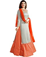 Crazy Women's Party Wear Georgette Salwar suits for women Semi Stitched (Orange)