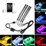 Car LED Strip Light, ONEKA-RGB 4pcs 48LED Multicolor Music Car Interior Lights Under Dash Lighting Waterproof Kit With Sound Active Function and Wireless Remote Control, DC 12V (USB Port)