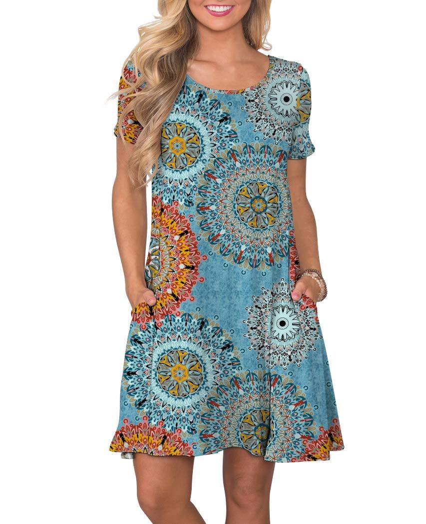 KORSIS Women's Summer Floral Dresses Short Sleeve Tunic T Shirt Swing Dresses Flower Mix Blue 2XL