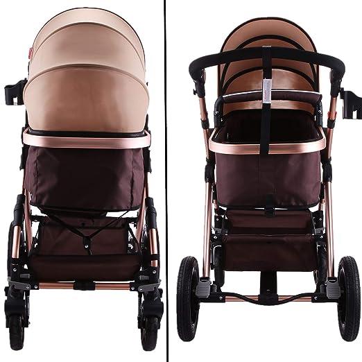 Amazon.com: VEVOR Cochecito de bebé de lujo plegable ...