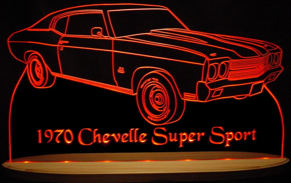 1970 Chevelle SS Acrylic Lighted Edge Lit LED Sign Awesome 21'' Light Up Plaque 70 VVD1 Full Size USA Original by ValleyDesignsND