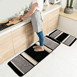 "HEBE Kitchen Rugs Set 2 Pieces Non-Slip Washable Kitchen Mat Rug Runner Sets Rubber Backing Indoor Outdoor Doormat Runner Rug Set (18""x47""+18""x30"", Black)"