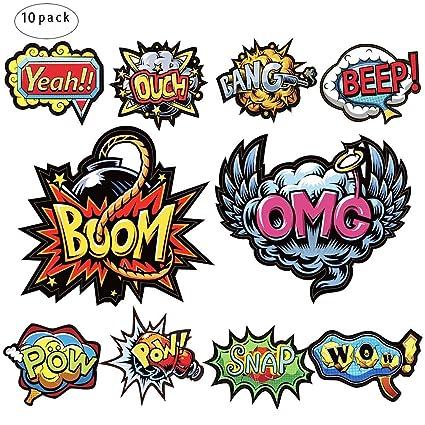 amazon com superhero words cutouts superhero action stickers for