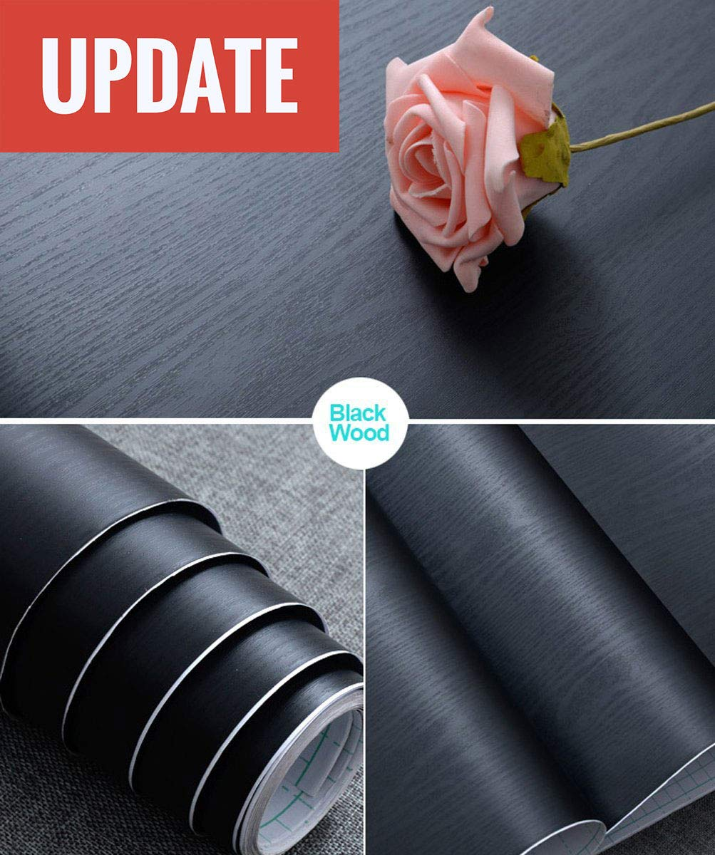 Abyssaly 17.71'' X 78.7'' Black Wood Contact Paper Decorative Self-Adhesive Film Furniture Real Wood Tactile Sensation Surfaces Easy to Clean