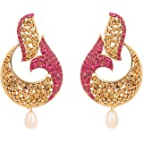 Touchstone Indian Bollywood Green Curved Fish Theme Designer Jewelry Earrings In Antique Gold Tone For Women