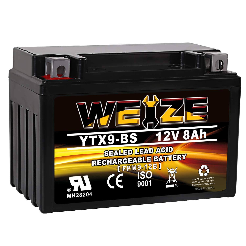 Weize YTX9-BS Battery Maintenance Free For Motorcycle ATV Honda TRX 400EX Sportrax Fourtrax GSXR600 LTZ250 ZX600, Polaris Predator 500,Suzuki GSX-R600 YTX9 ETX9 BS Batteries