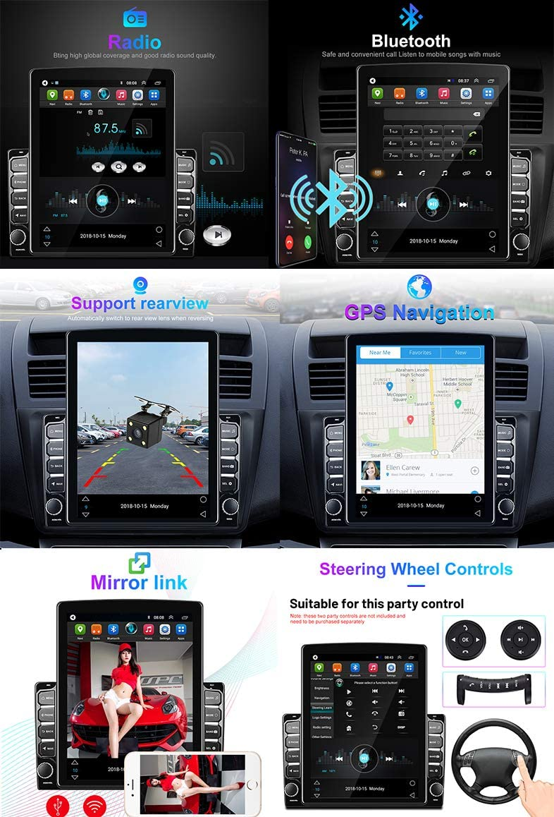 CAMECHO Android Car Radio Double Din 9.7 Vertical Screen Car Stereo with Bluetooth Quad Cord 1GB 16GB Support GPS//FM//Mirror Link for iOS/&Android Phone Link+Rear View Camera