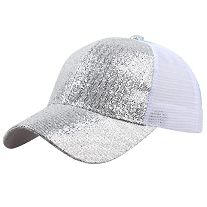 78b3040f5e4 Amazon.com  KFSO Women Man Ponytail Baseball Cap Sequins Shiny Messy Bun  Snapback Hat Sun Caps (Silver