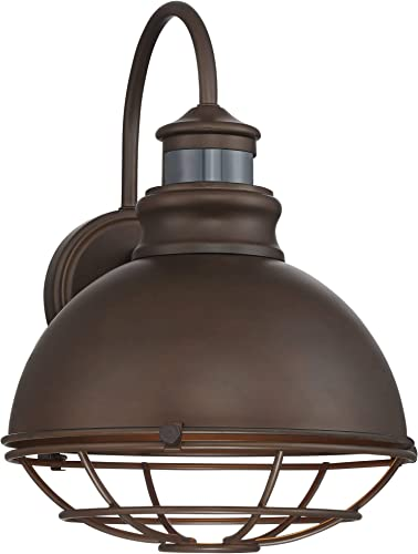 Norton Industrial Outdoor Wall Light Fixture Urban Barn Oiled Bronze 14 Round Cage Motion Security Sensor Dusk to Dawn for House Porch Patio – John Timberland