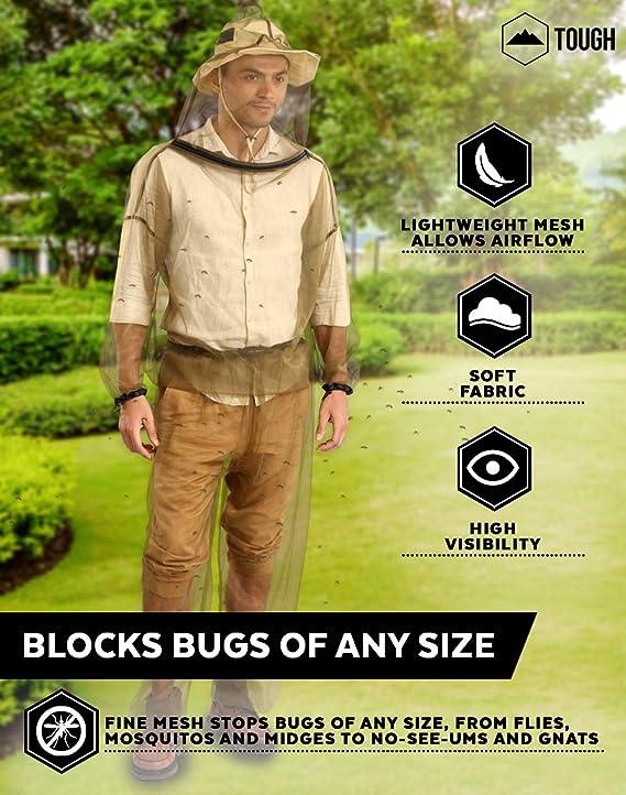 Toygogo Chaqueta de Pesca Anti-Mosquito Traje con Capucha contra Insectos Equipo para Pesca en Noche Aire Libre Unisex