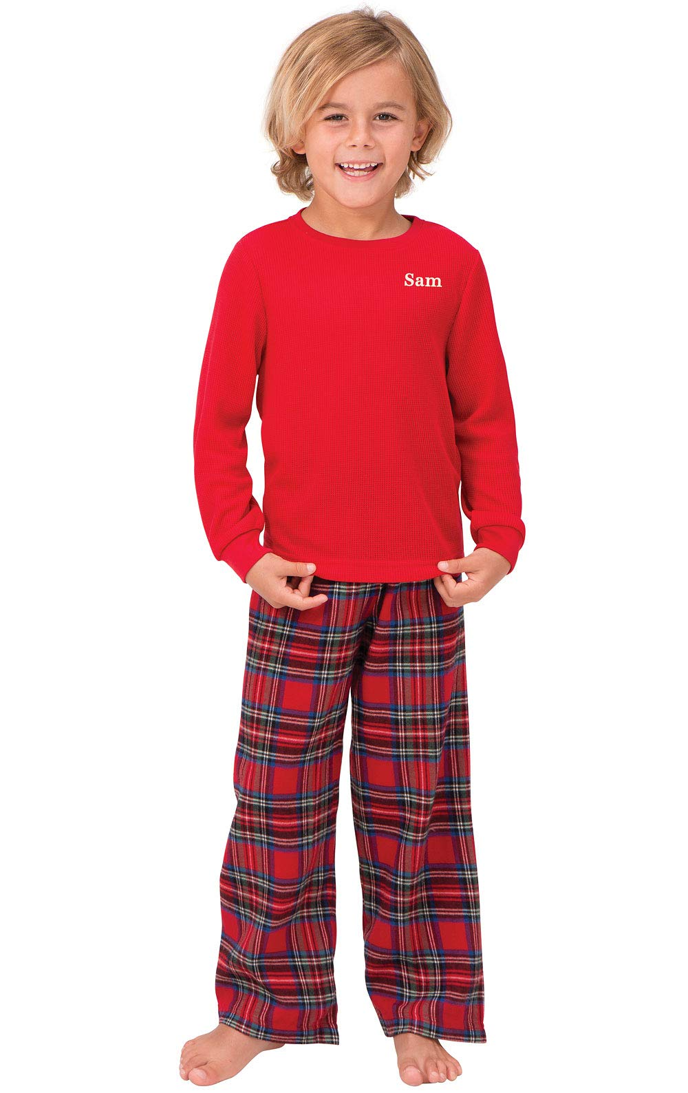 PajamaGram Personalized Flannel Stewart Plaid Pajamas Thermal Top, Red, Boys 10