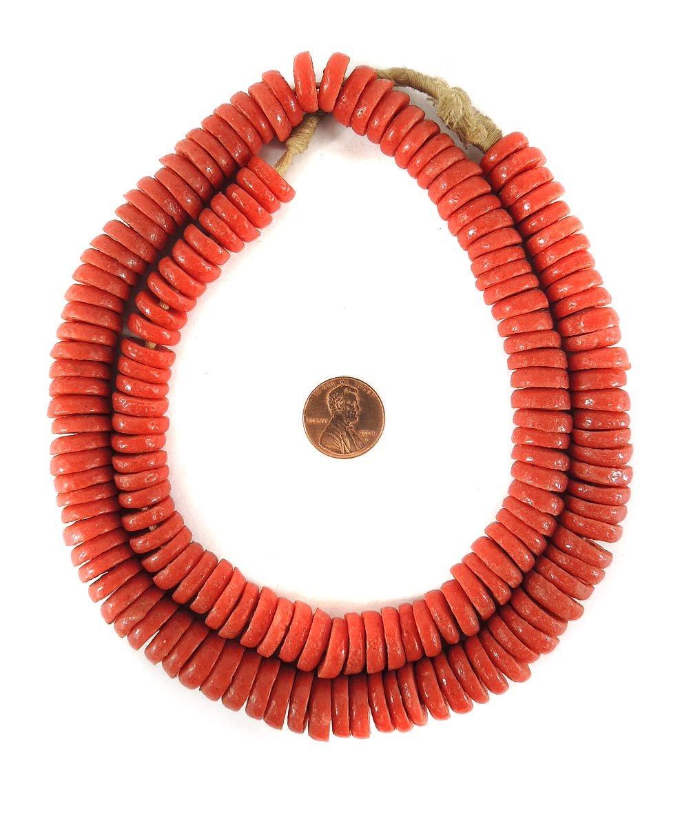 Krobo Beads - Anillos de cristal en polvo rojo para Ghana África ...
