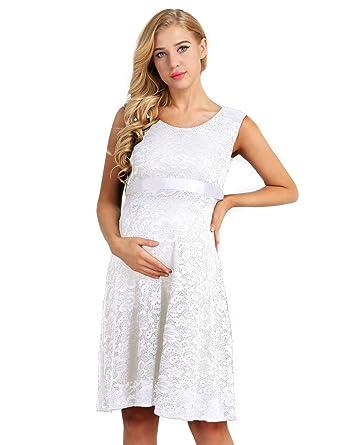 34d1962c1874b Freebily Robe Été Femme Maternité Et Allaitement Robe de Soirée Cocktail  Elégante Femme Robe de Grossesse
