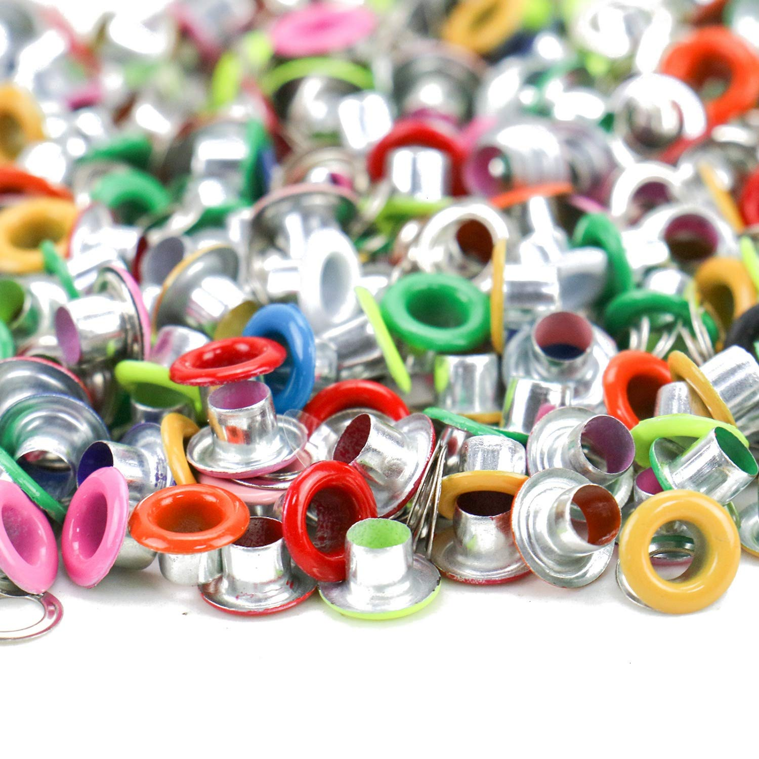 JETEHO 200 Pcs Colorful Metal Eyelets Grommets with Washer Eyelets Scrapbooking Supplies for Leather Clothing Shoes
