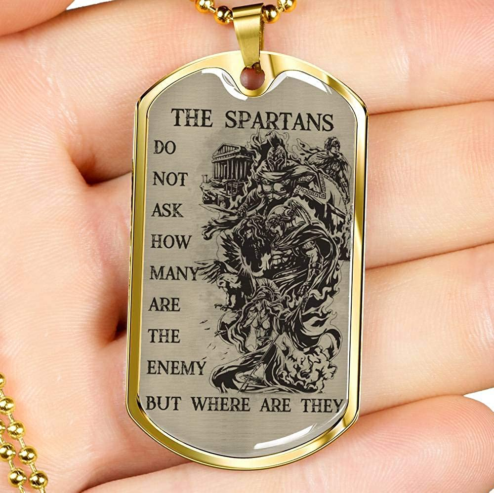 Xmas Present Ideas Husband Birthday Gift Spatan Lovers Brother Gift for Solier Perfect Birthday Family Gifts New Spartan Big Brother Warrior Dog tag Military Chain