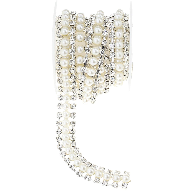 Amazon.com  L-Queen 1 Yard Pearls Lace Rhinestone Trim Handmade Rhinestone  Chain Wedding Applique for DIY Bridal Decorations (Pearl-7) 9b6c1d47ebfe