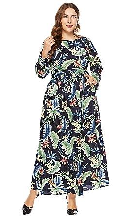 978db4a0e0c Preferhouse Women s Floral Print Long Sleeves Plus Size Swing Maxi Dress  Black 1X Plus 14W
