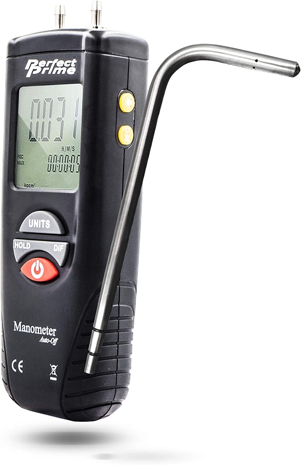 """PerfectPrime AR1890P1, Digital Air Pressure Manometer to Measure Gauge & Differential Pressure ±13.79kPa / ±2 psi / ±55.4 H2O with 304 Stainless Steel Static Tube 5.13"""" x 2.34"""" Length"""