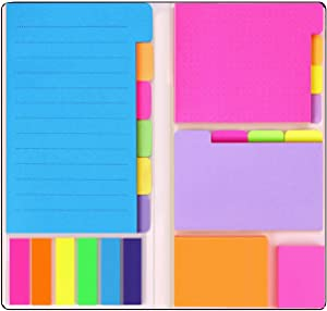 Super Sticky Notes by Housim - Super Glue, Bookmark, Prioritize and Set Goals with Color Coding , 60 Ruled (4x6), 40 Dotted (3.8x3), 40 Blank (3.5x2.6), 60 Orange and Pink (1.8×2.4 ), 25 per PET Color