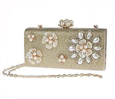 7f88b24aade5 Pulama Womens Pearl Clutch 3D Floral Beaded Evening Handbag Formal Cocktail  Party Purse (Gold)