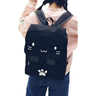 f86ad3c16b9c Japanese Cute Cat Embroidery Canvas Backpack Girls School Bag Cartoon  Rucksuck (One Size