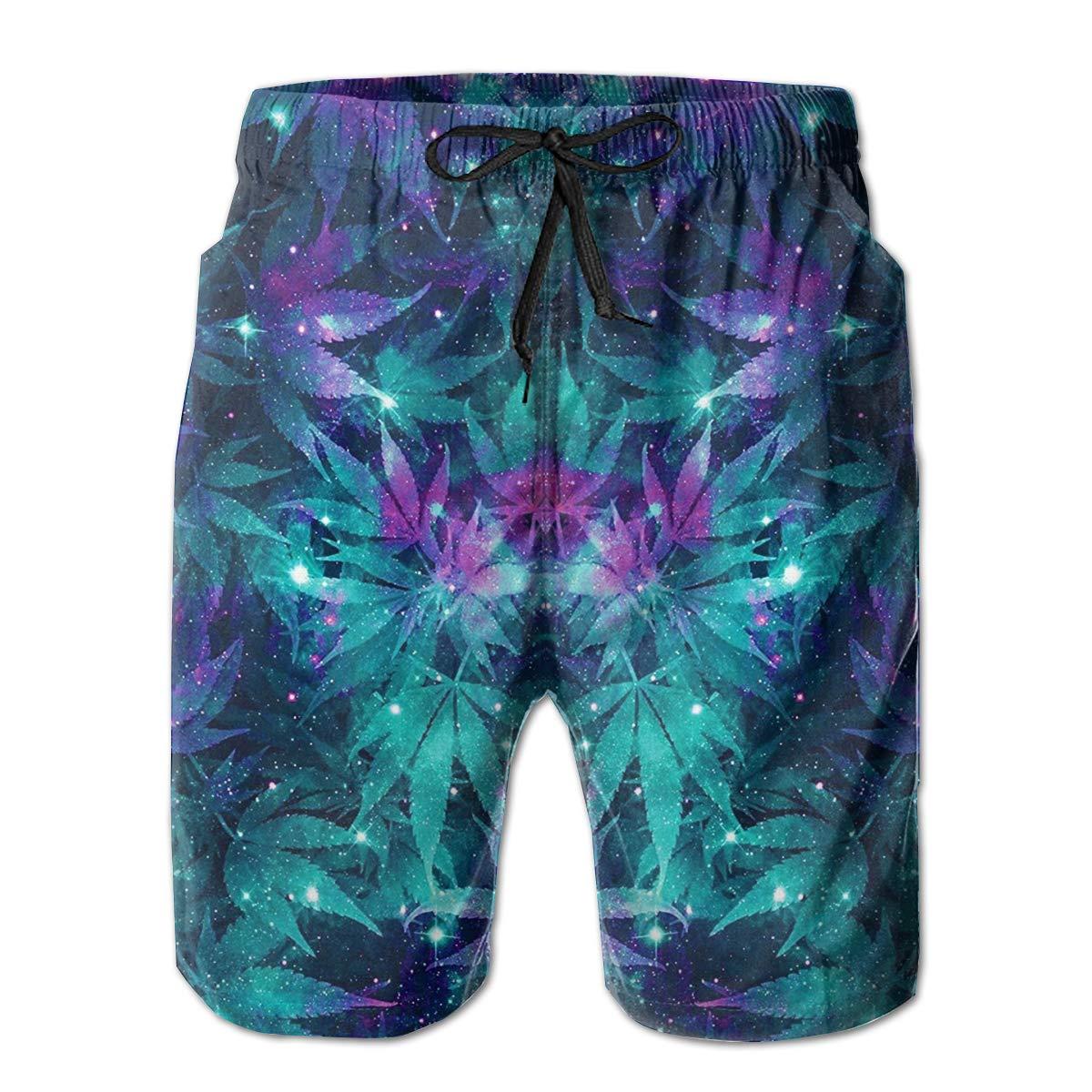 Mens Swim Trunks Galaxy Beach Board Shorts Quick Dry Sports Running Swim Board Shorts with Pockets Mesh Lining