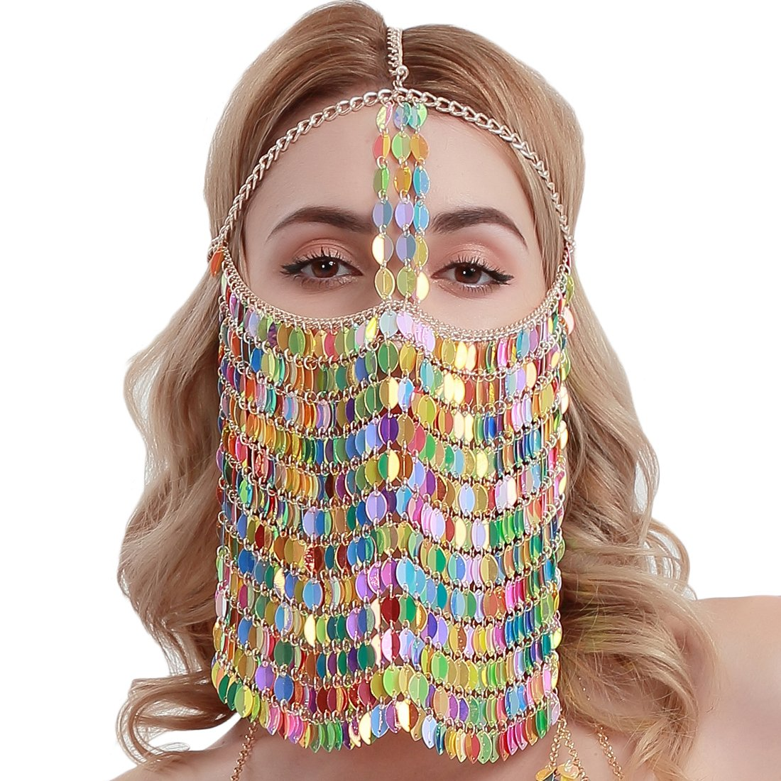 CCbodily Face Mask Chains Jewelry Harness Colorful Masquerade Mask Body Jewelry for Women Party
