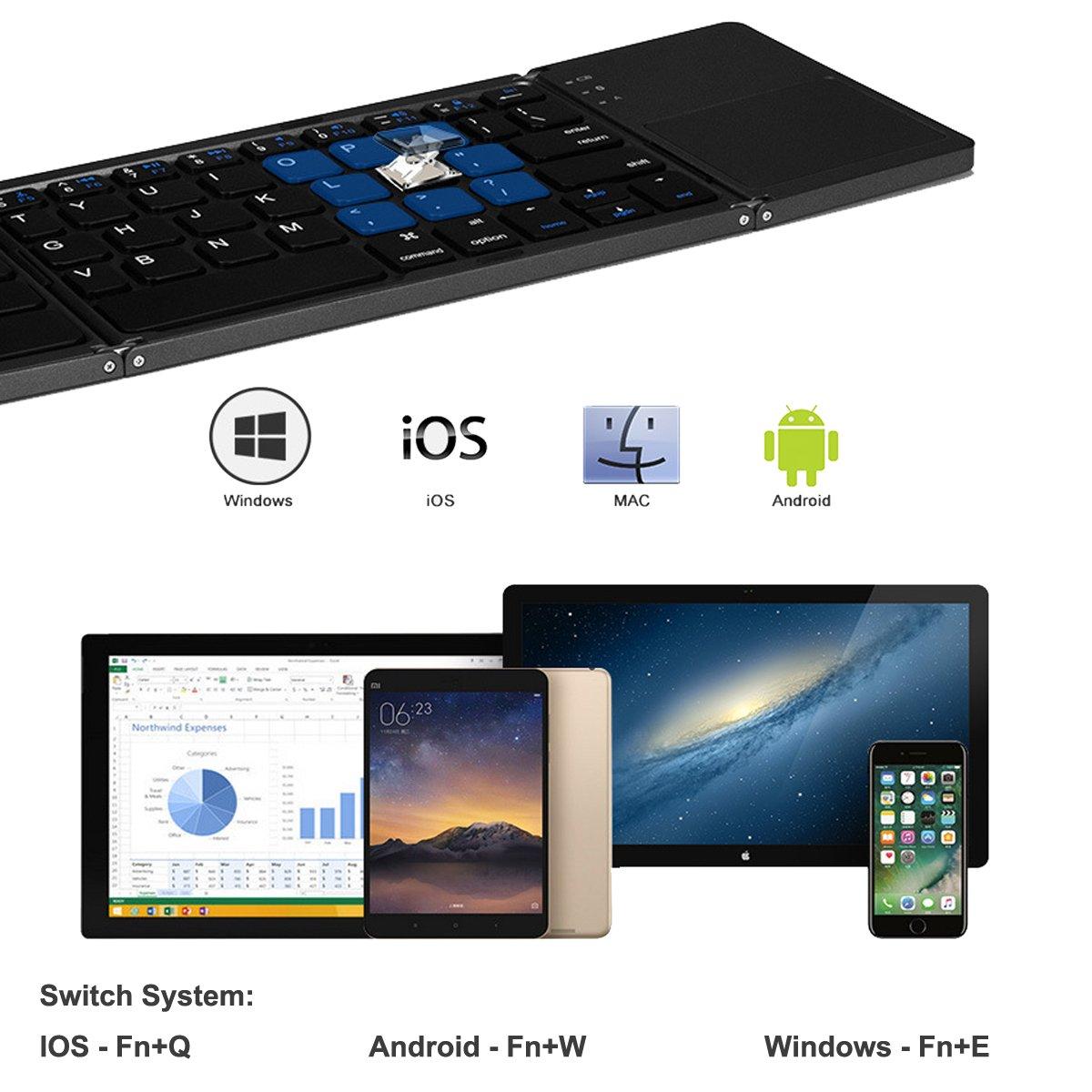 Teclado Bluetooth plegable e inalámbrico, con Touchpad Ultra Slim.Compatible con Windows, Android y iOS, Smart Phone y TV deep gray ...