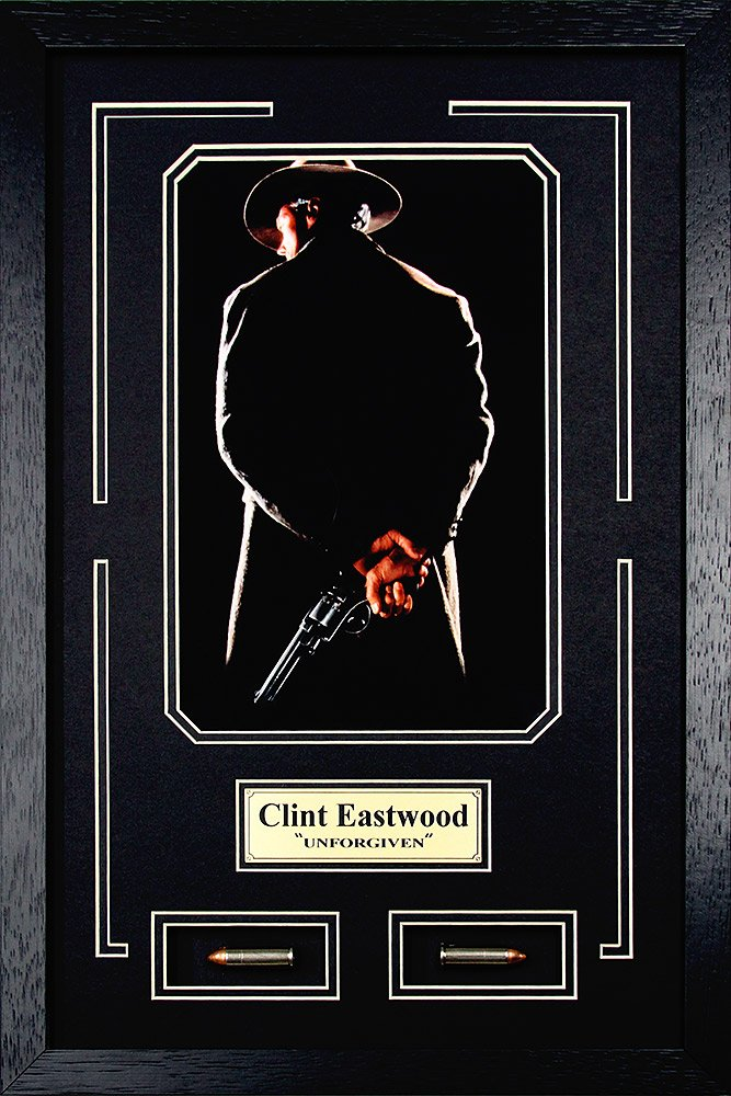 Clint Eastwood as William 'Bill' Munny. ''Unforgiven'' Movie Memorabilia. Framed Photo with Bullets and Plate (13.5 x 17.5)