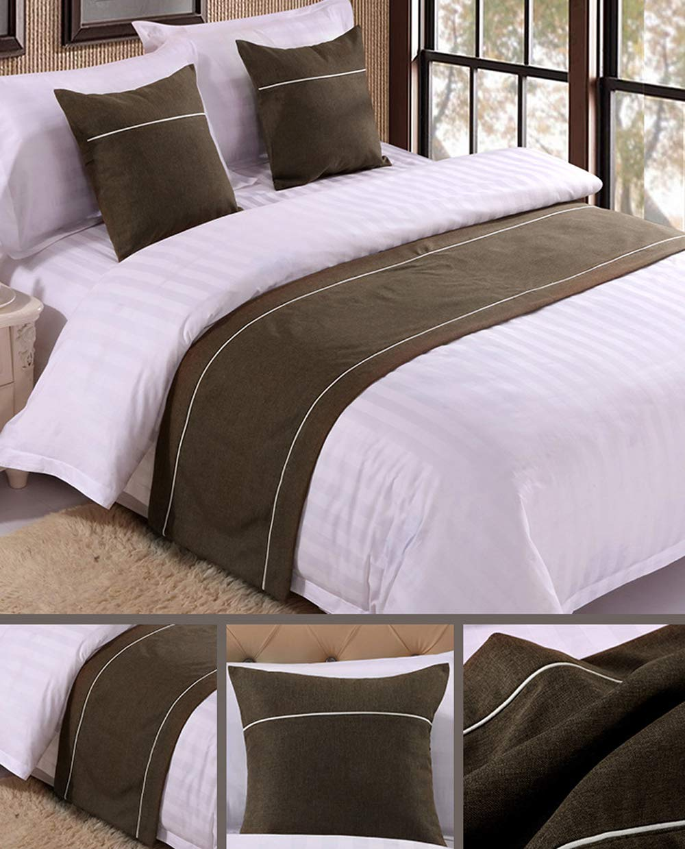 Mengersi Solid Color Soft No Fading Modern Bed Runner Bedding Scarf Protection for Bedroom Hotel Wedding Room (King, Coffee)