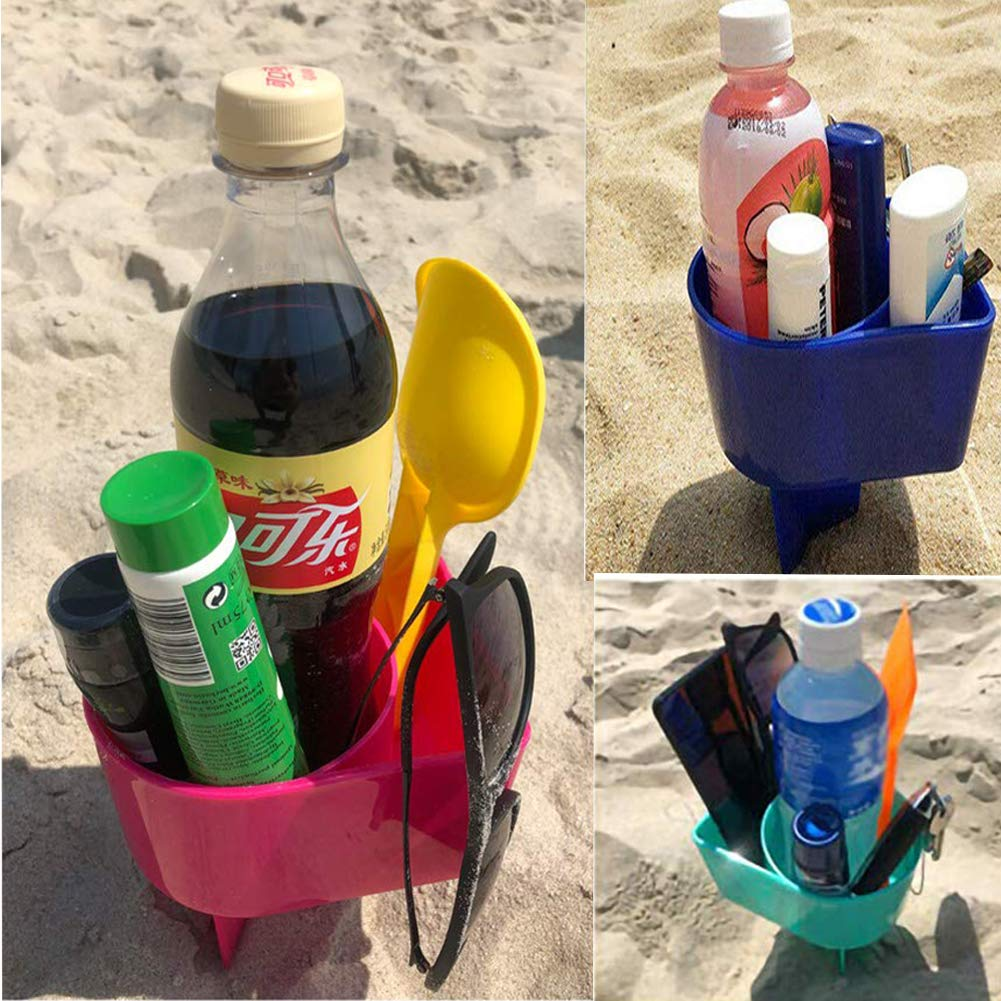 Orgrimmar 4 Pack Beach Sand Cup Holder Multifunction Plastic Sand Grass Drink Holders for Storing Beverage Phone Sunglasses Sunscreen Keys Summer Vacation Beach Accessory