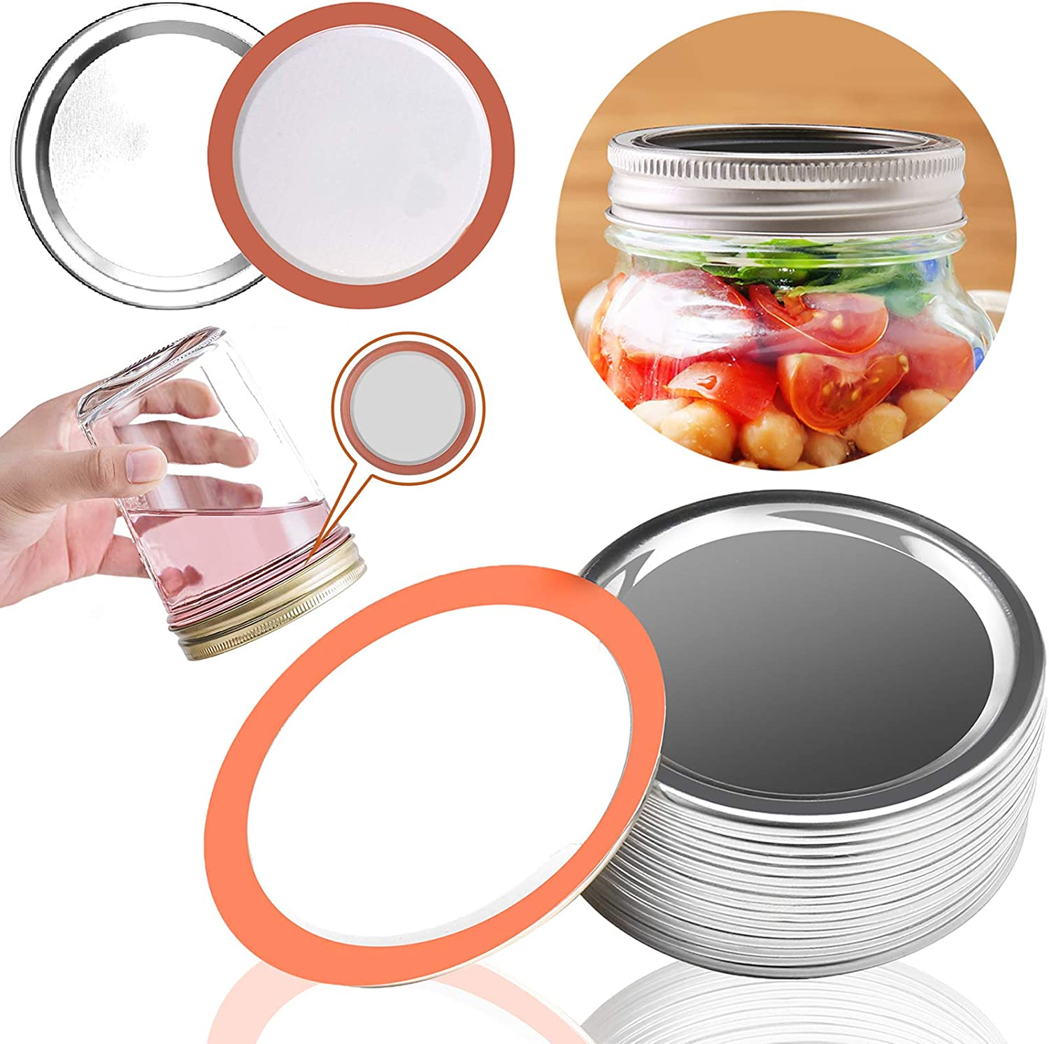 Ball Plastic Leak Proof Storage Caps Regular Mouth Canning Lid Reusable 24-Pack