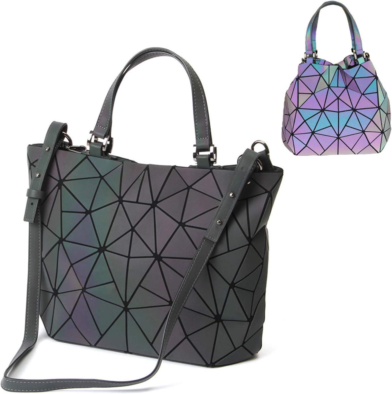 Hot One Colour Cambia Borse e borsette luminose geometriche Borsa olografica Borsa riflettente Borsa Moda 5# No.1 + Portafoglio Cerniera