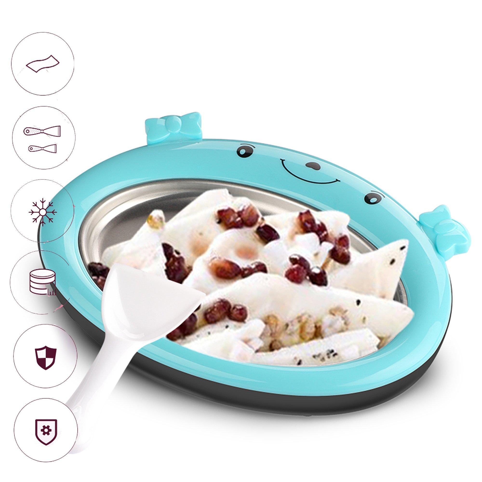 Mini Frozen Yogurt Instant Ice Cream Maker Pan for Kids DIY Fun Ice Plate for Ice Cream Rolls (Blue)