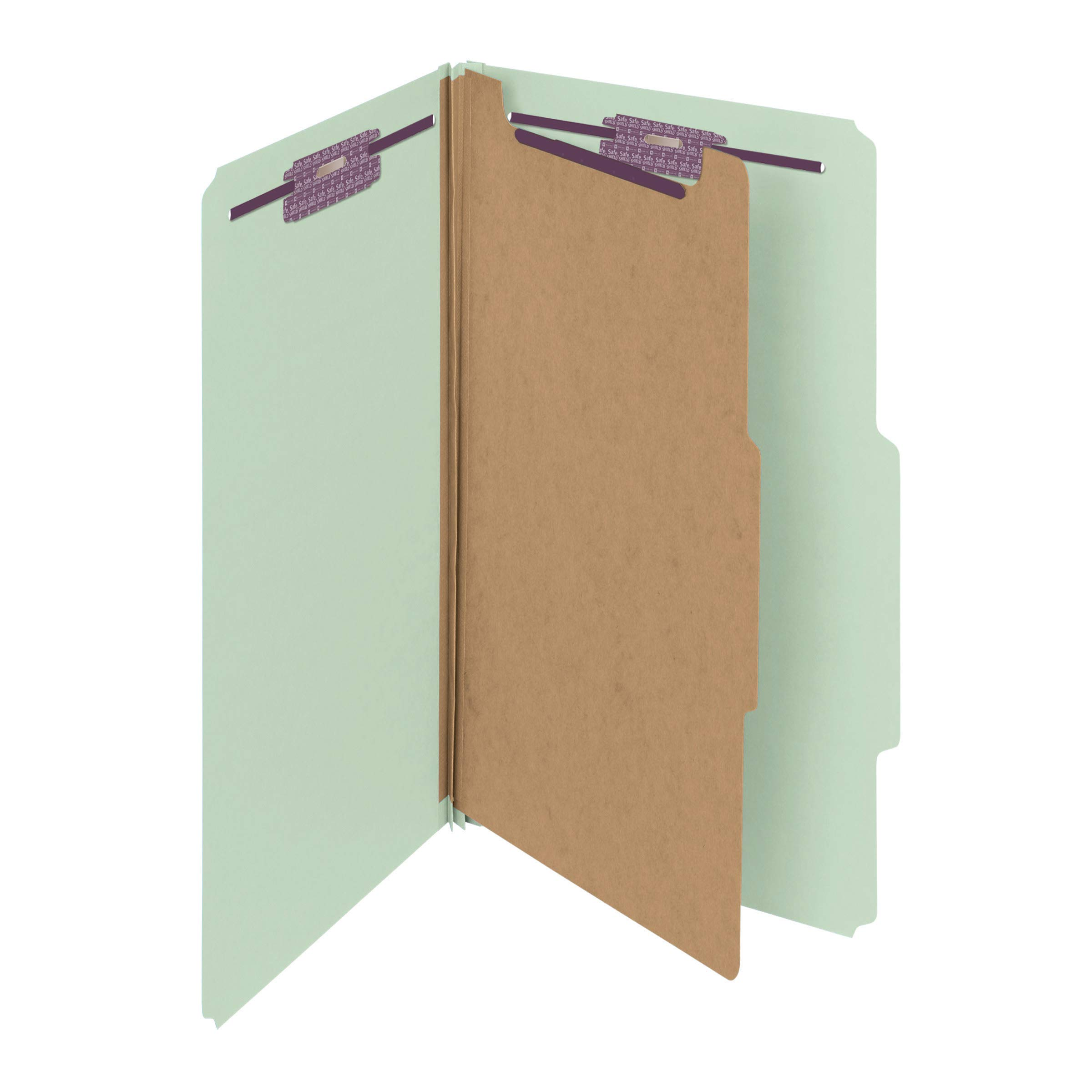 Smead Pressboard Classification File Folder with SafeSHIELD Fasteners, 1 Divider, 2'' Expansion, Legal Size, Gray/Green, 10 per Box (18776) by Smead