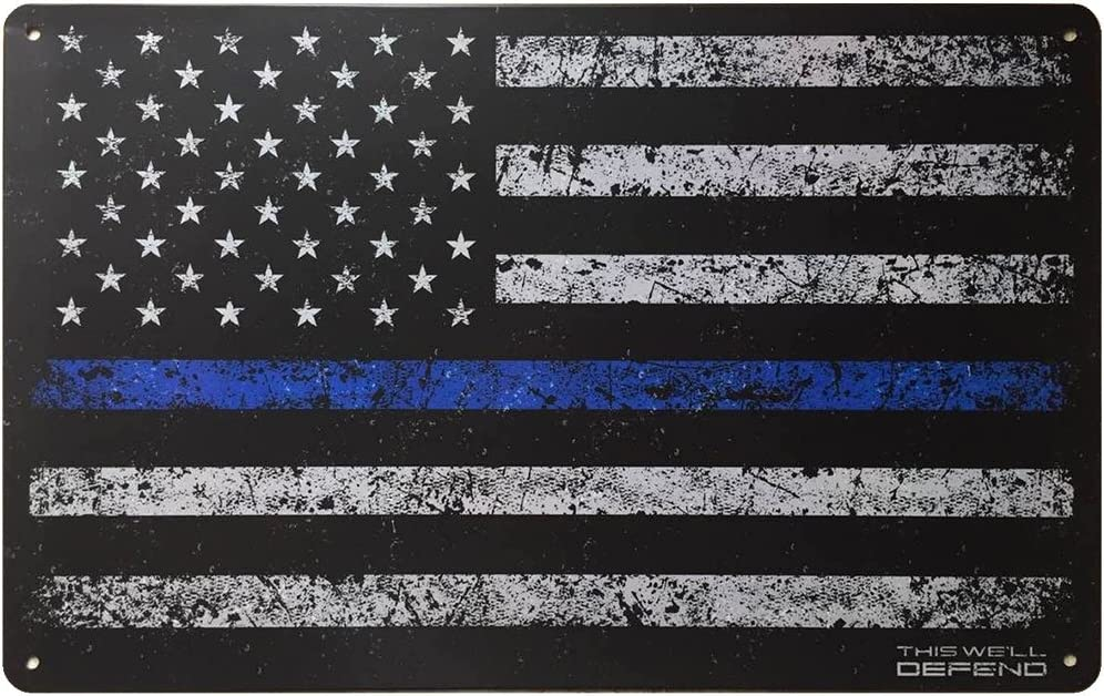 "Thin Blue Line Sign American Flag 10"" x 16"" Tin Metal Police Law Enforcement USA Leo Home Decor Man Cave Accessories Gifts for Men"