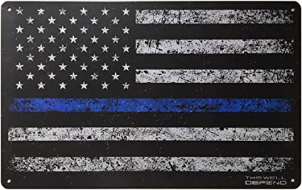 Details about  /Black and Blue Police Force Tire Tread Badge Shape Metal Wall Art Sign Decor