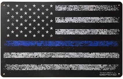 Amazon.com: Lata de metal cartel delgada línea azul bandera ...