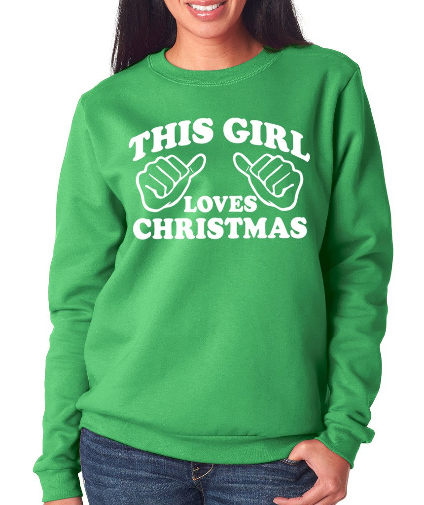 SignatureTshirts Women's This Girl Loves Christmas Sweatshirt (White Print) XL Green