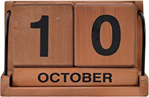 NIKKY HOME Wooden Blocks Perpetual Calendar for Desk Decoration