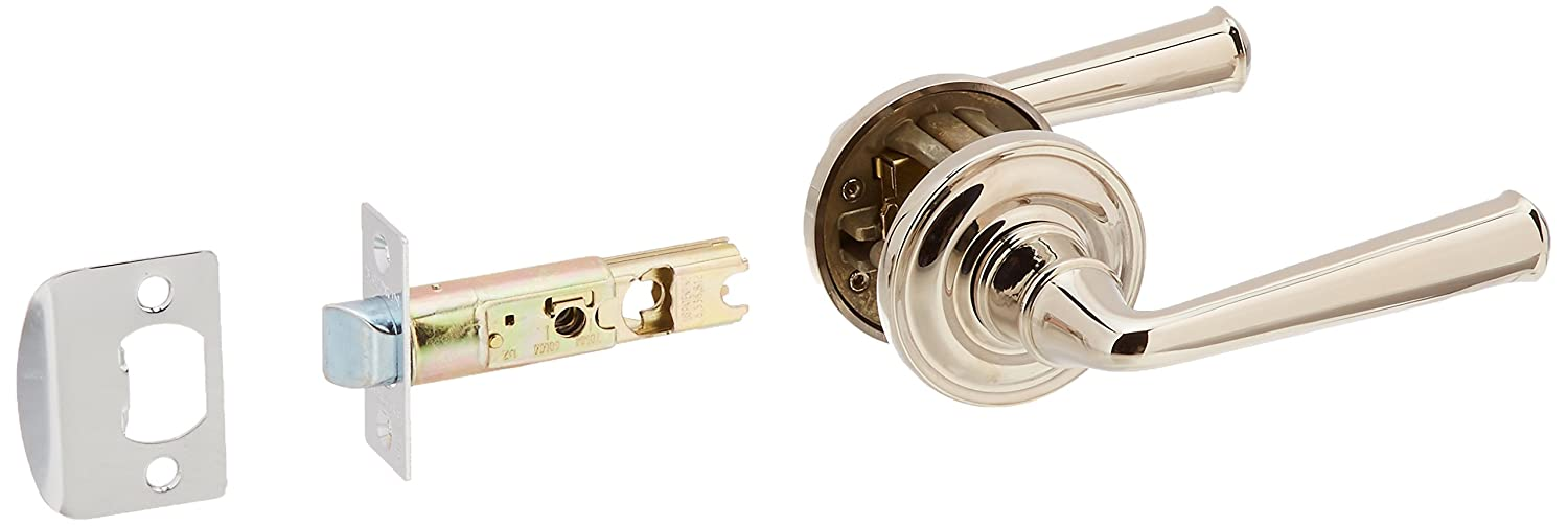 Polished Nickel Baldwin Hardware Corp Baldwin PS.FED.TRR Federal Passage Leverset with Traditional Round Rose PSFEDTRR141