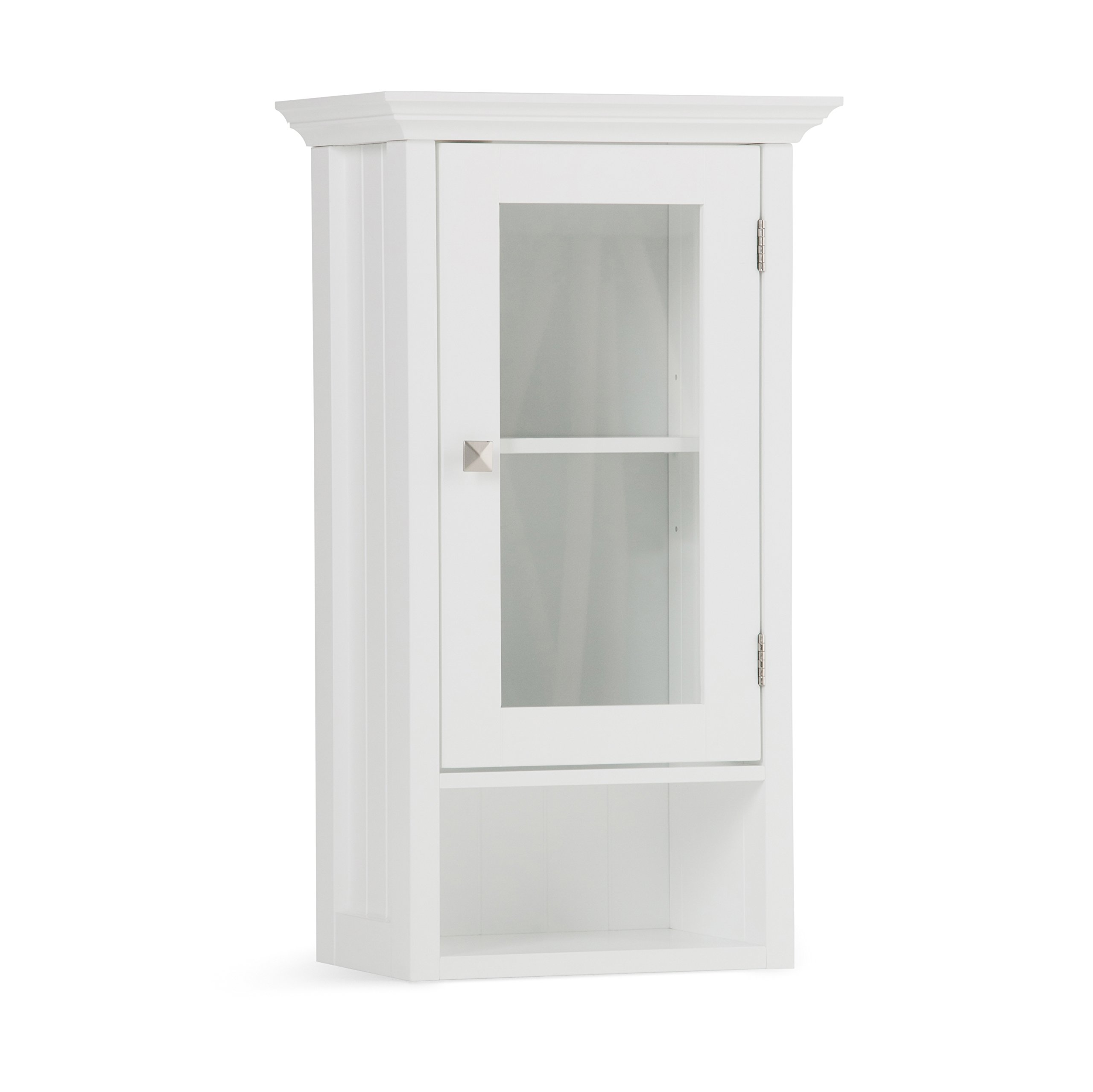 Simpli Home Acadian Single Door Wall Cabinet, White