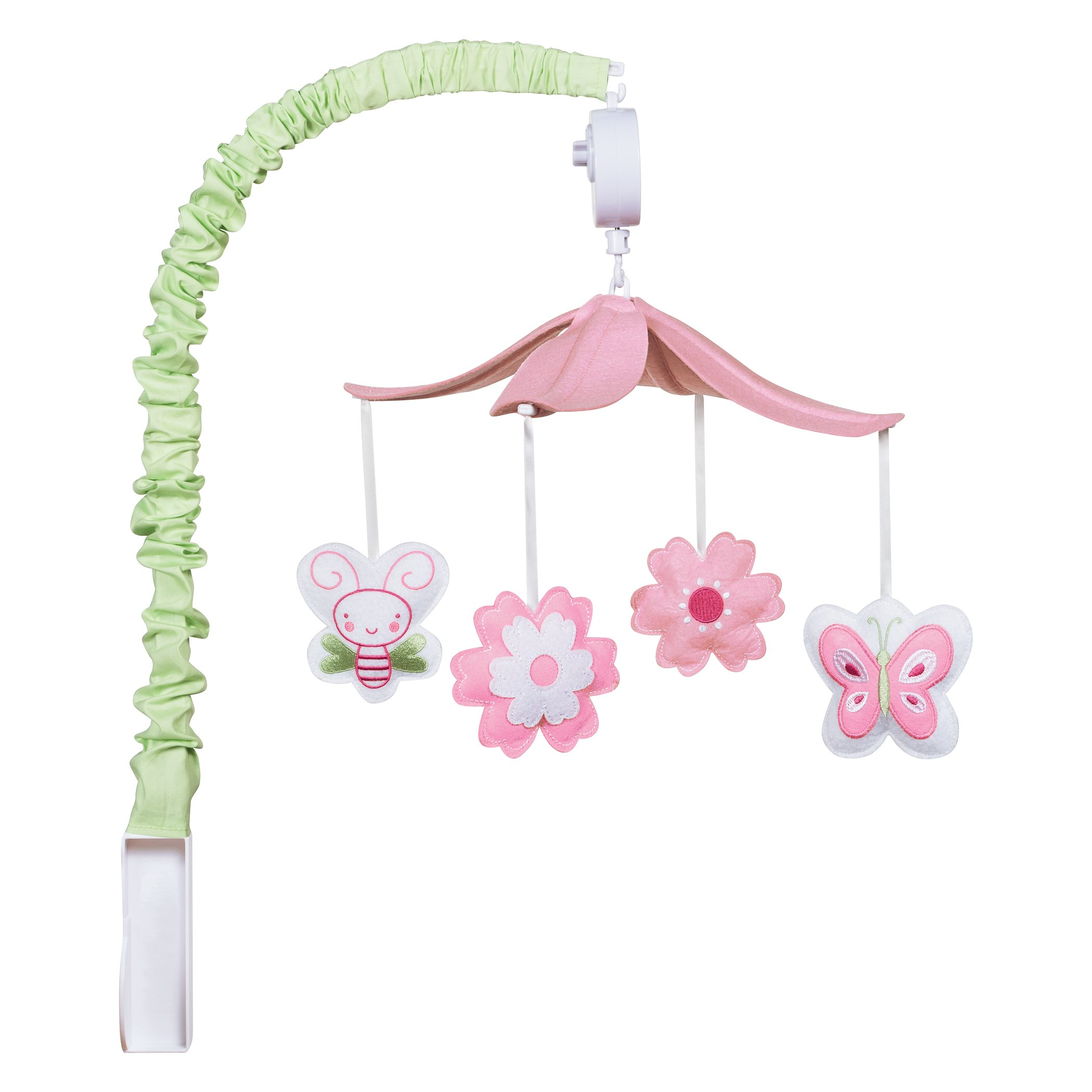 Trend Lab Felt Floral Musical Crib Mobile, Butterfly and Bees Baby Mobile, Floral and Butterflies Nursery Décor by Trend Lab