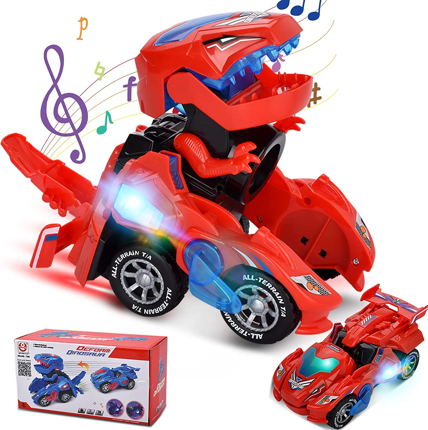 Year Old Kids Boy Girls Birthday Gifts Transforming Dinosaur Car with LED Light and Music Automatic Transform Dino Car Toys for 3 SEANBO Transforming Dinosaur Toys