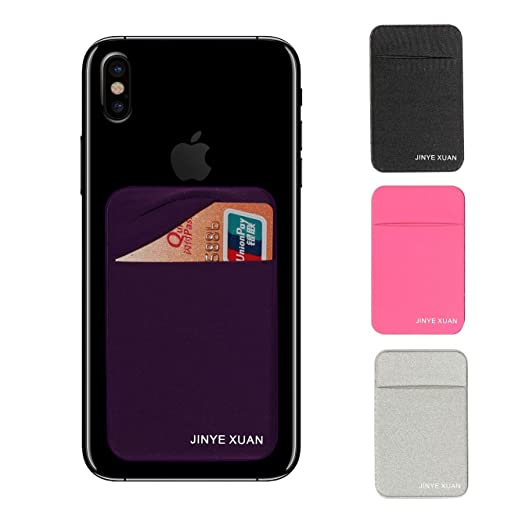 Jinyexuan 4 Pcs Adhesive Phone Wallet, Elastic Fabric Cell Phone Card Holder For All Smartphones & Cases(Black, Purple, Pink, Gray) by Jinyexuan