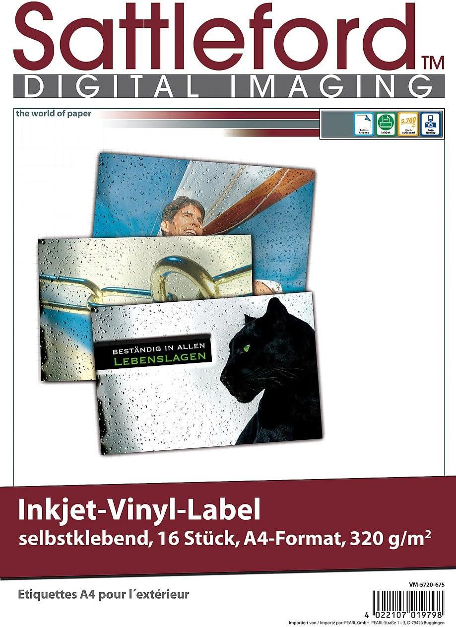 16 films vinyle Sattleford pour jet dencre, résistant aux intempéries, DIN A4, blanc (autocollant): Amazon.es: Coche y moto
