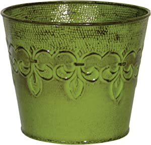 Robert Allen MPT01888 Fluer De Lis Series Metal Planter Flower Pot 4-Inch Tansy Green
